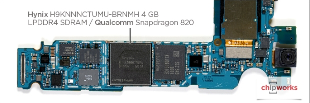Modul memori Hynix dan Snapdragon 820 (PoP) - chipworks.com