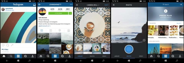 Tampilan aplikasi Instagram utk Windows 10 Mobile - phonearena.com