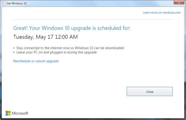 Penjadwalan upgrade ke Windows 10 - Screenshot by Lance Whitney/CNET
