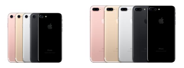 iPhone 7 (kiri) dan iPhone 7 Plus (kanan)