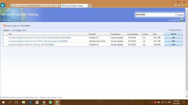 Tampilan layar Microsoft Update Catalog via Internet Explorer