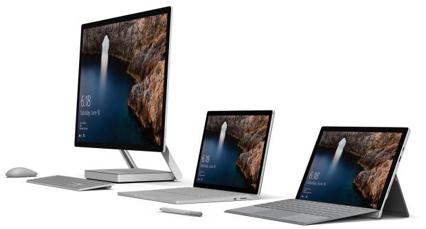 Dari kiri ke kanan: Surface Studio, Surface Book, dan Surface Pro 4